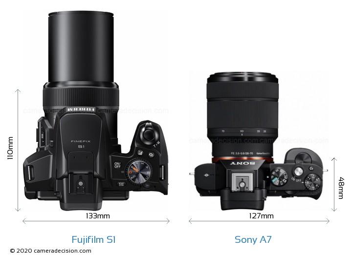 Fujifilm S1 vs Sony A7 Camera Size Comparison - Top View