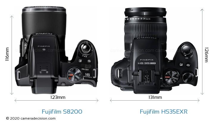 Fujifilm S8200 vs Fujifilm HS35EXR Camera Size Comparison - Top View