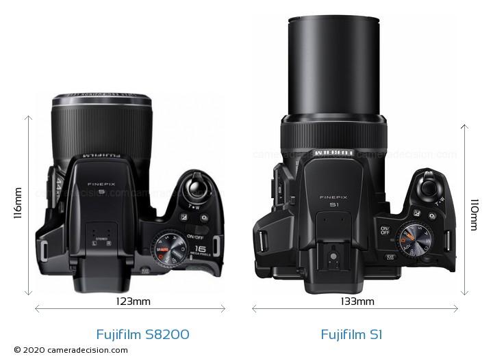 Fujifilm S8200 vs Fujifilm S1 Camera Size Comparison - Top View