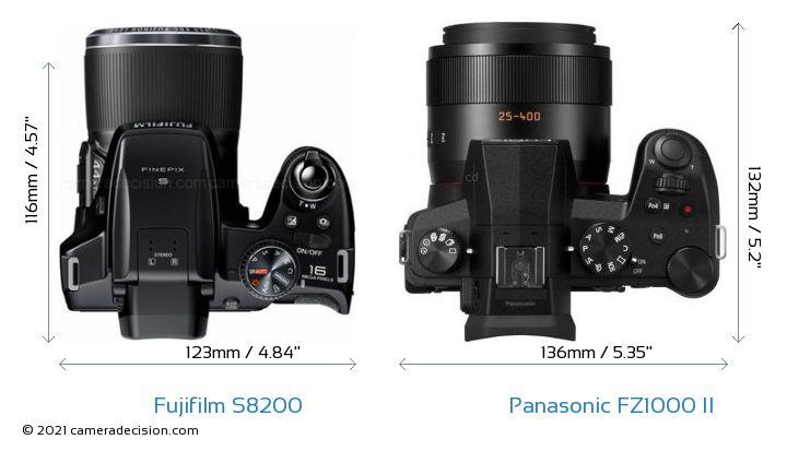Fujifilm S8200 vs Panasonic FZ1000 II Camera Size Comparison - Top View