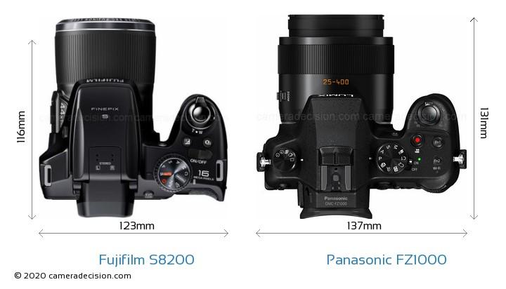 Fujifilm S8200 vs Panasonic FZ1000 Camera Size Comparison - Top View