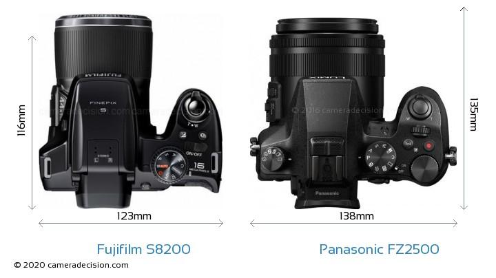 Fujifilm S8200 vs Panasonic FZ2500 Camera Size Comparison - Top View
