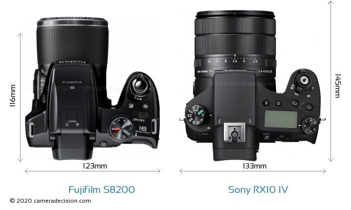 Fujifilm S8200 vs Sony RX10 IV Camera Size Comparison - Top View