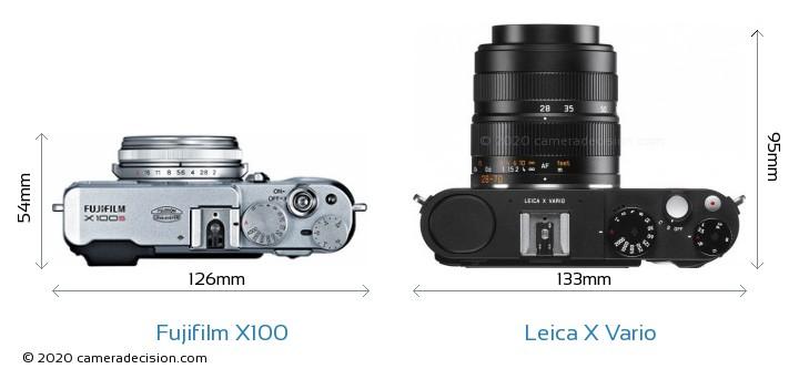 Fujifilm X100 vs Leica X Vario Camera Size Comparison - Top View