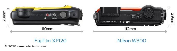 Fujifilm XP120 vs Nikon W300 Camera Size Comparison - Top View