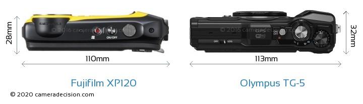Fujifilm XP120 vs Olympus TG-5 Camera Size Comparison - Top View