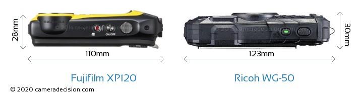 Fujifilm XP120 vs Ricoh WG-50 Camera Size Comparison - Top View