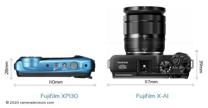 Fujifilm XP130 vs Fujifilm X-A1 Camera Size Comparison - Top View