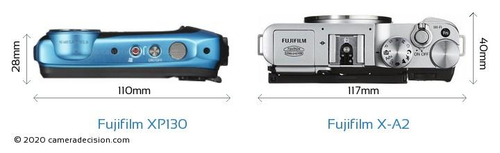 Fujifilm XP130 vs Fujifilm X-A2 Camera Size Comparison - Top View