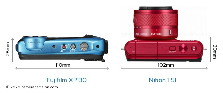 Fujifilm XP130 vs Nikon 1 S1 Camera Size Comparison - Top View