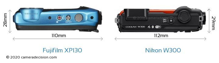 Fujifilm XP130 vs Nikon W300 Camera Size Comparison - Top View