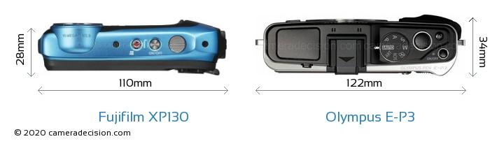 Fujifilm XP130 vs Olympus E-P3 Camera Size Comparison - Top View