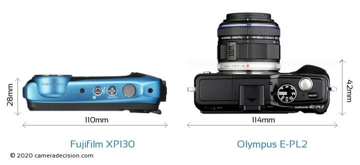 Fujifilm XP130 vs Olympus E-PL2 Camera Size Comparison - Top View