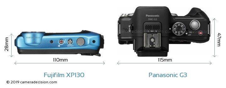Fujifilm XP130 vs Panasonic G3 Camera Size Comparison - Top View