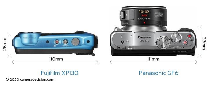 Fujifilm XP130 vs Panasonic GF6 Camera Size Comparison - Top View