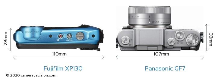 Fujifilm XP130 vs Panasonic GF7 Camera Size Comparison - Top View