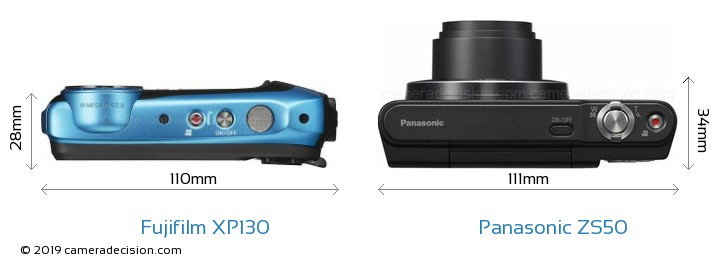 Fujifilm XP130 vs Panasonic ZS50 Camera Size Comparison - Top View
