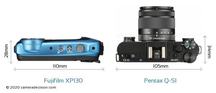 Fujifilm XP130 vs Pentax Q-S1 Camera Size Comparison - Top View