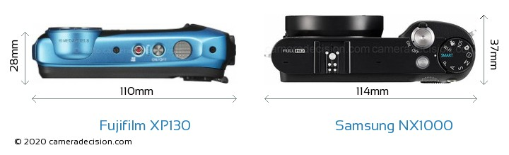 Fujifilm XP130 vs Samsung NX1000 Camera Size Comparison - Top View