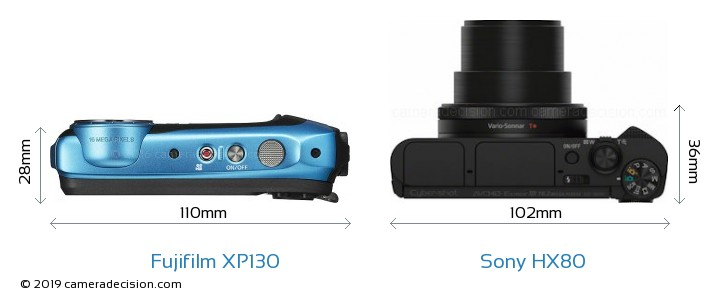 Fujifilm XP130 vs Sony HX80 Camera Size Comparison - Top View