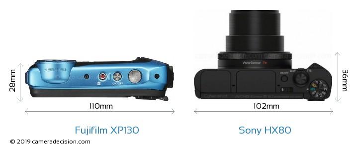 Fujifilm XP130 vs Sony HX80 Camera Size Comparison - Top View