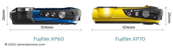 Fujifilm XP60 vs Fujifilm XP70 Camera Size Comparison - Top View