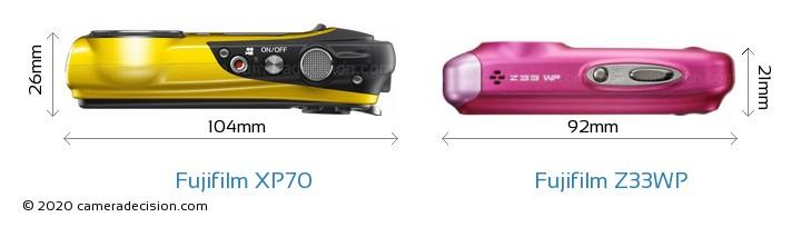 Fujifilm XP70 vs Fujifilm Z33WP Camera Size Comparison - Top View