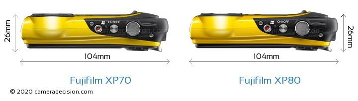 Fujifilm XP70 vs Fujifilm XP80 Camera Size Comparison - Top View