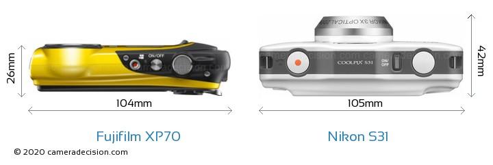 Fujifilm XP70 vs Nikon S31 Camera Size Comparison - Top View