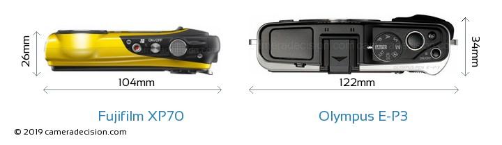 Fujifilm XP70 vs Olympus E-P3 Camera Size Comparison - Top View