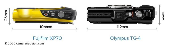 Fujifilm XP70 vs Olympus TG-4 Camera Size Comparison - Top View