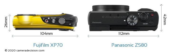 Fujifilm XP70 vs Panasonic ZS80 Camera Size Comparison - Top View