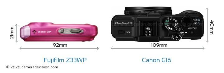 Fujifilm Z33WP vs Canon G16 Camera Size Comparison - Top View