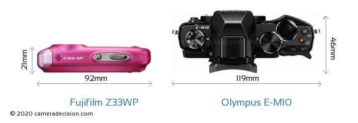 Fujifilm Z33WP vs Olympus E-M10 Camera Size Comparison - Top View