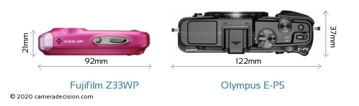 Fujifilm Z33WP vs Olympus E-P5 Camera Size Comparison - Top View
