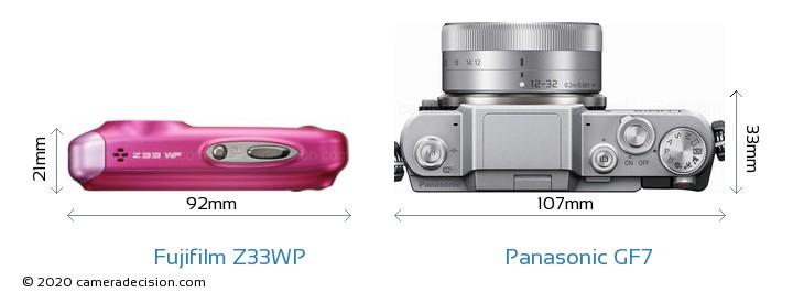Fujifilm Z33WP vs Panasonic GF7 Camera Size Comparison - Top View