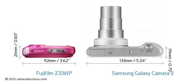 Fujifilm Z33WP vs Samsung Galaxy Camera 2 Camera Size Comparison - Top View