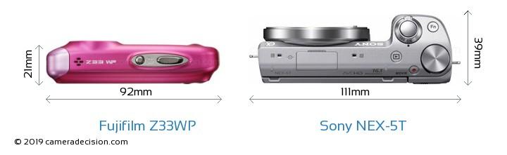 Fujifilm Z33WP vs Sony NEX-5T Camera Size Comparison - Top View