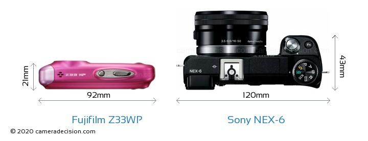 Fujifilm Z33WP vs Sony NEX-6 Camera Size Comparison - Top View