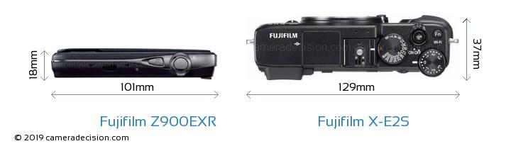 Fujifilm Z900EXR vs Fujifilm X-E2S Camera Size Comparison - Top View