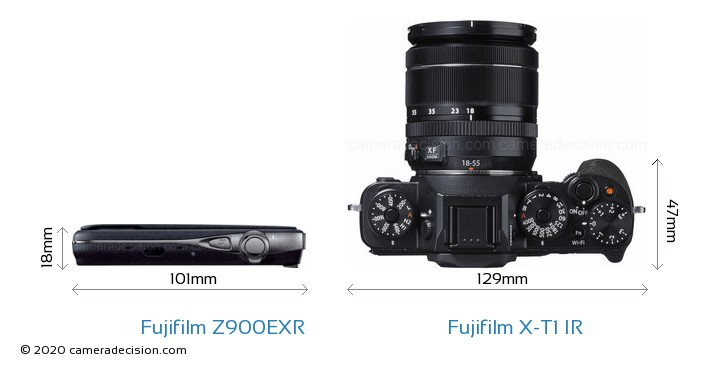 Fujifilm Z900EXR vs Fujifilm X-T1 IR Camera Size Comparison - Top View