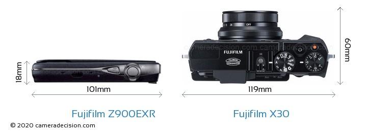 Fujifilm Z900EXR vs Fujifilm X30 Camera Size Comparison - Top View