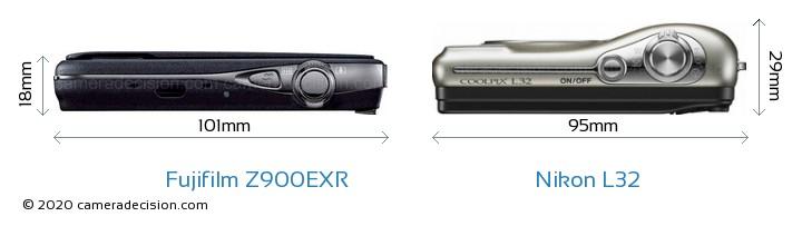 Fujifilm Z900EXR vs Nikon L32 Camera Size Comparison - Top View