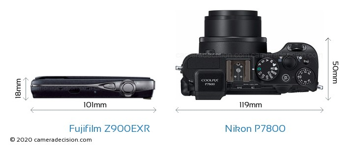 Fujifilm Z900EXR vs Nikon P7800 Camera Size Comparison - Top View