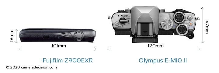 Fujifilm Z900EXR vs Olympus E-M10 II Camera Size Comparison - Top View