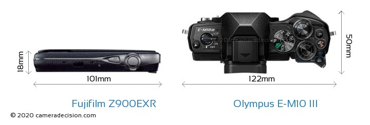 Fujifilm Z900EXR vs Olympus E-M10 MIII Camera Size Comparison - Top View