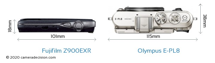 Fujifilm Z900EXR vs Olympus E-PL8 Camera Size Comparison - Top View