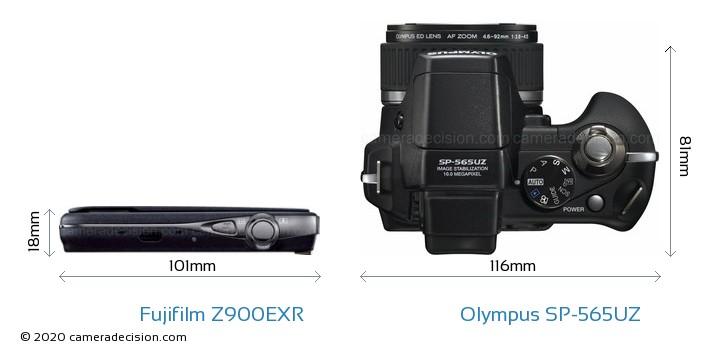 Fujifilm Z900EXR vs Olympus SP-565UZ Camera Size Comparison - Top View