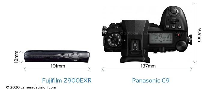 Fujifilm Z900EXR vs Panasonic G9 Camera Size Comparison - Top View