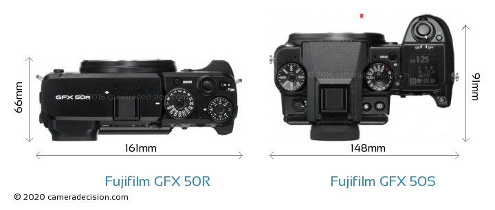 Fujifilm GFX 50R vs Fujifilm GFX 50S Camera Size Comparison - Top View